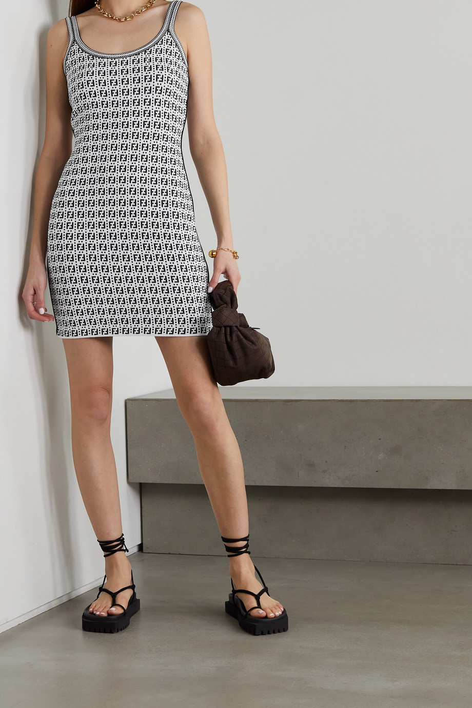FENDI Jacquard-knit mini dress