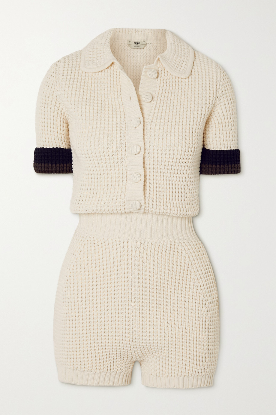 FENDI Striped knitted playsuit
