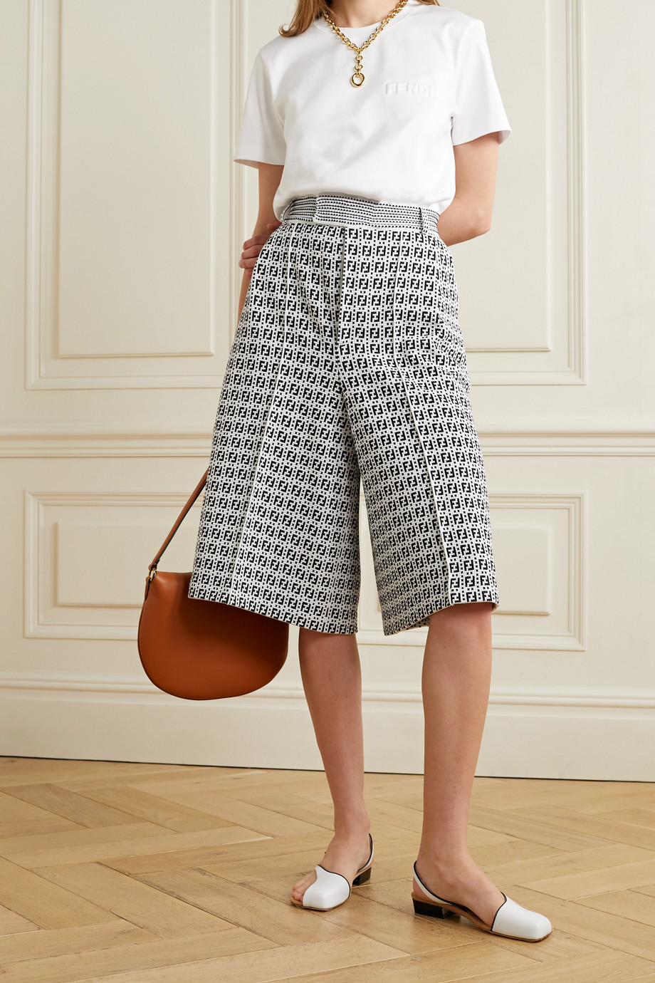 FENDI Jacquard-knit shorts