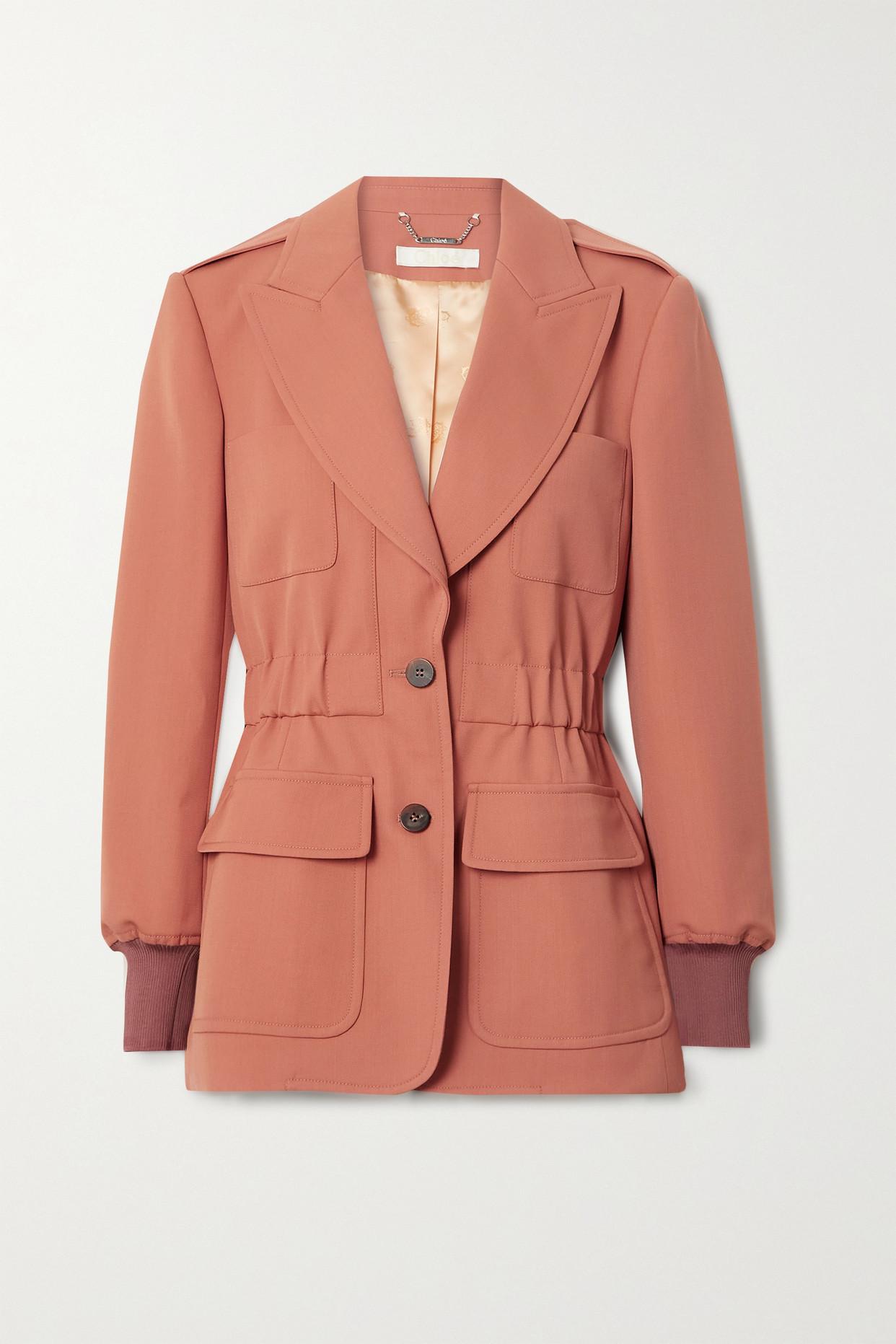 CHLOÉ - 缩褶粒纹羊毛西装外套 - 橙色 - FR38