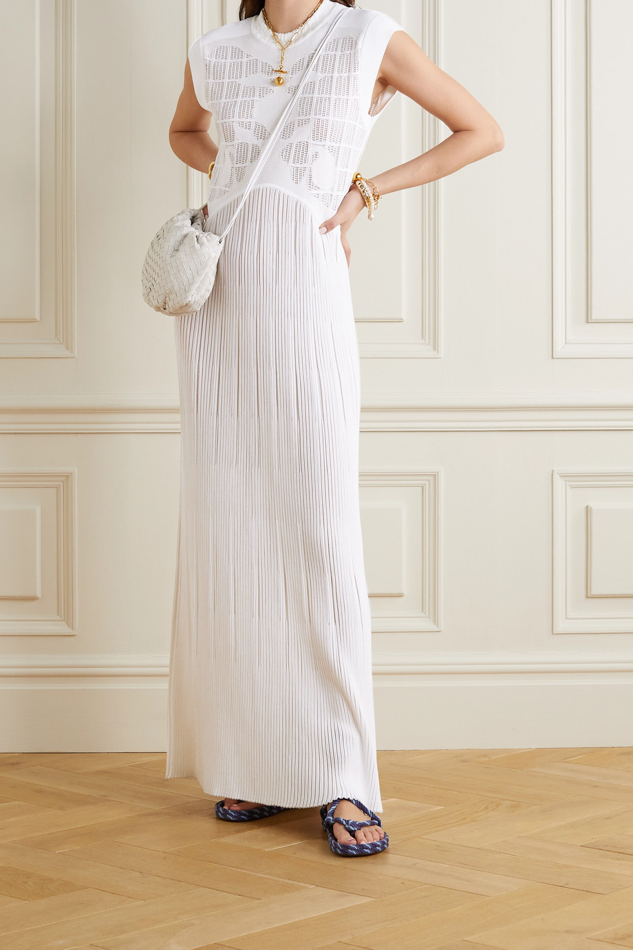 CHLOÉ Plissé jacquard-knit maxi dress