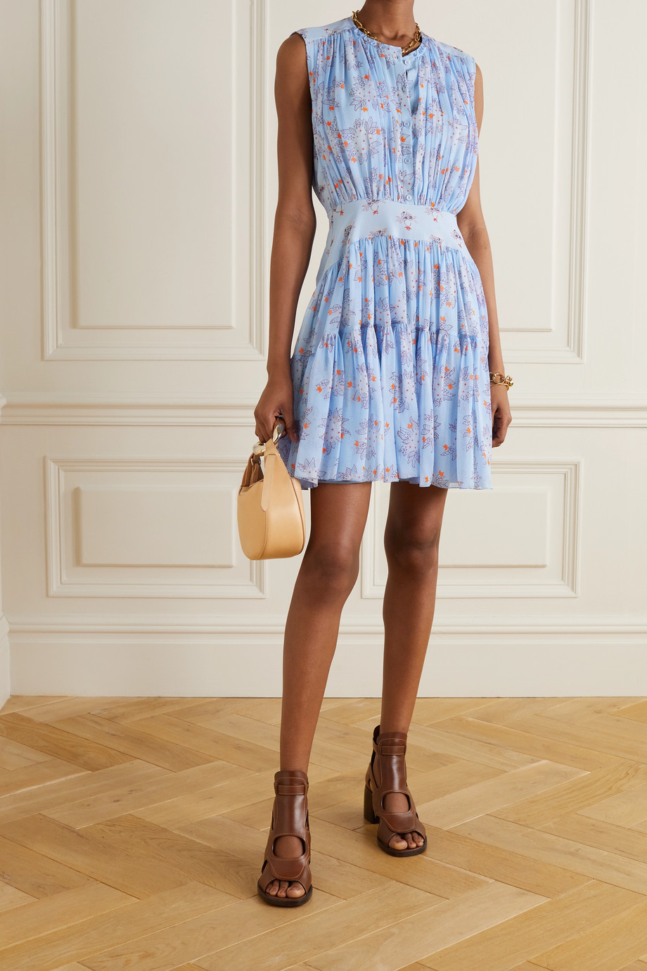 CHLOÉ Tiered gathered floral-print silk-georgette mini dress
