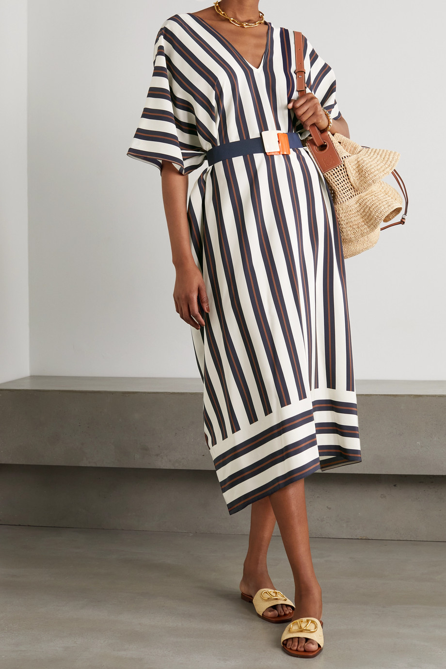 ERES Mozambique belted striped silk crepe de chine midi dress