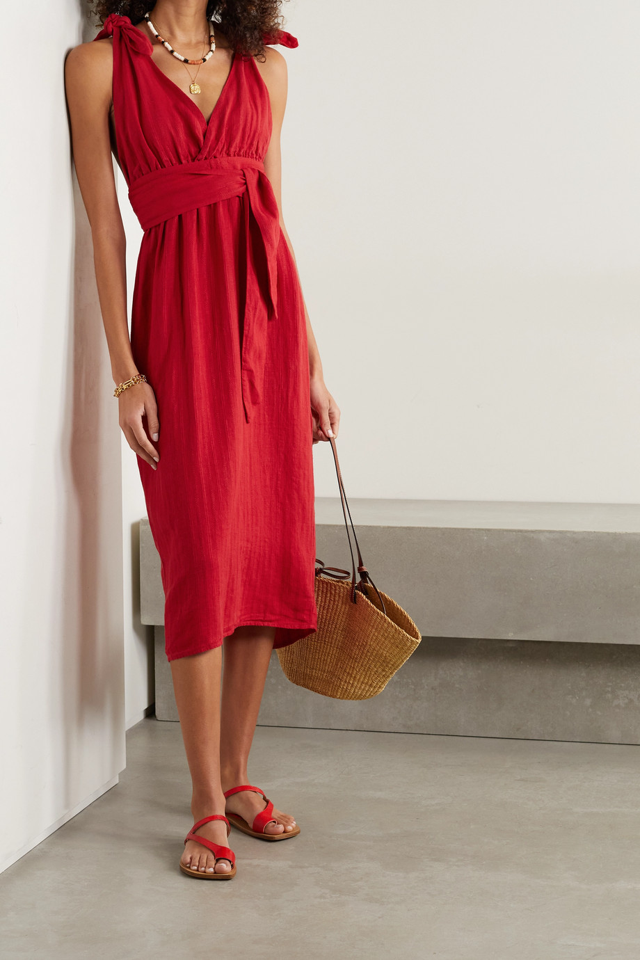 MARA HOFFMAN Calypso belted striped linen and TENCEL Lyocell-blend midi dress