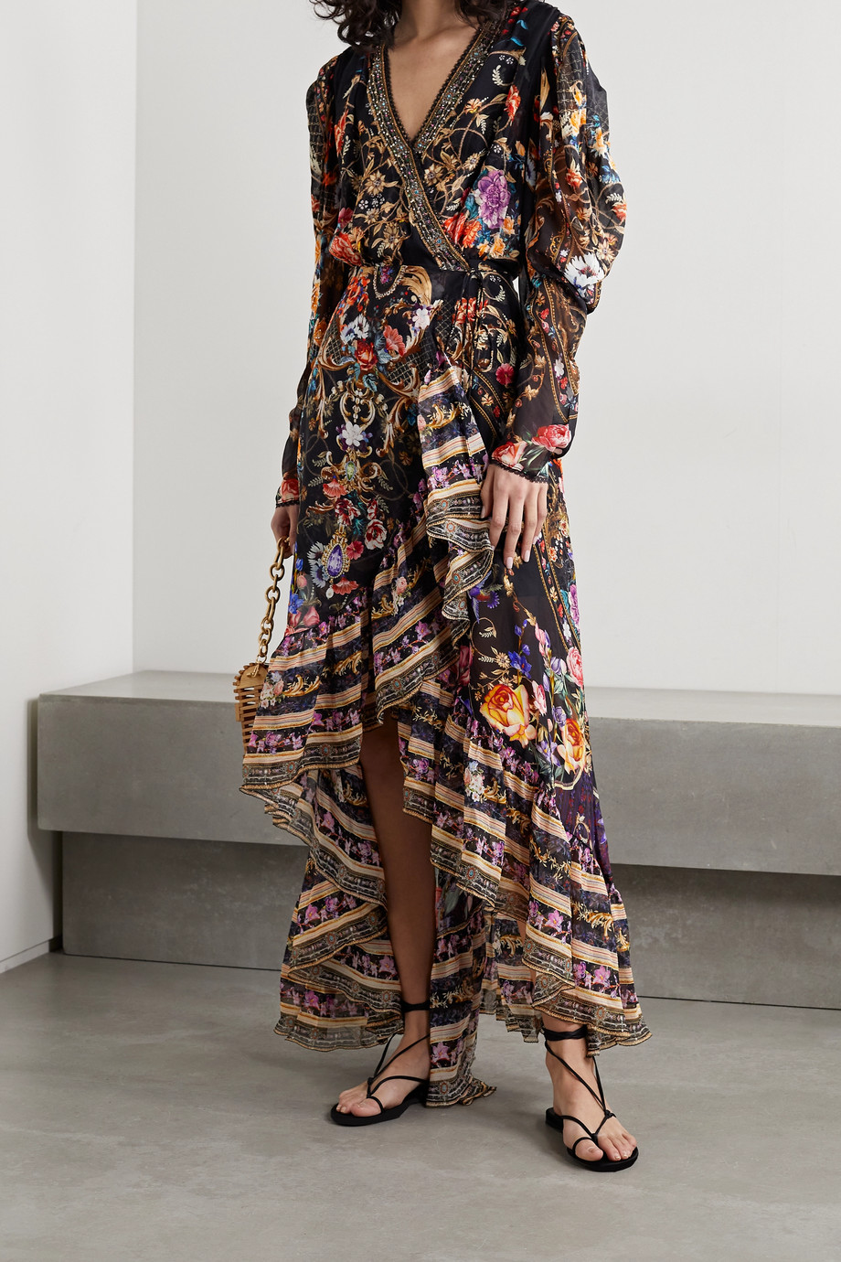 CAMILLA Crystal-embellished printed silk-chiffon wrap dress
