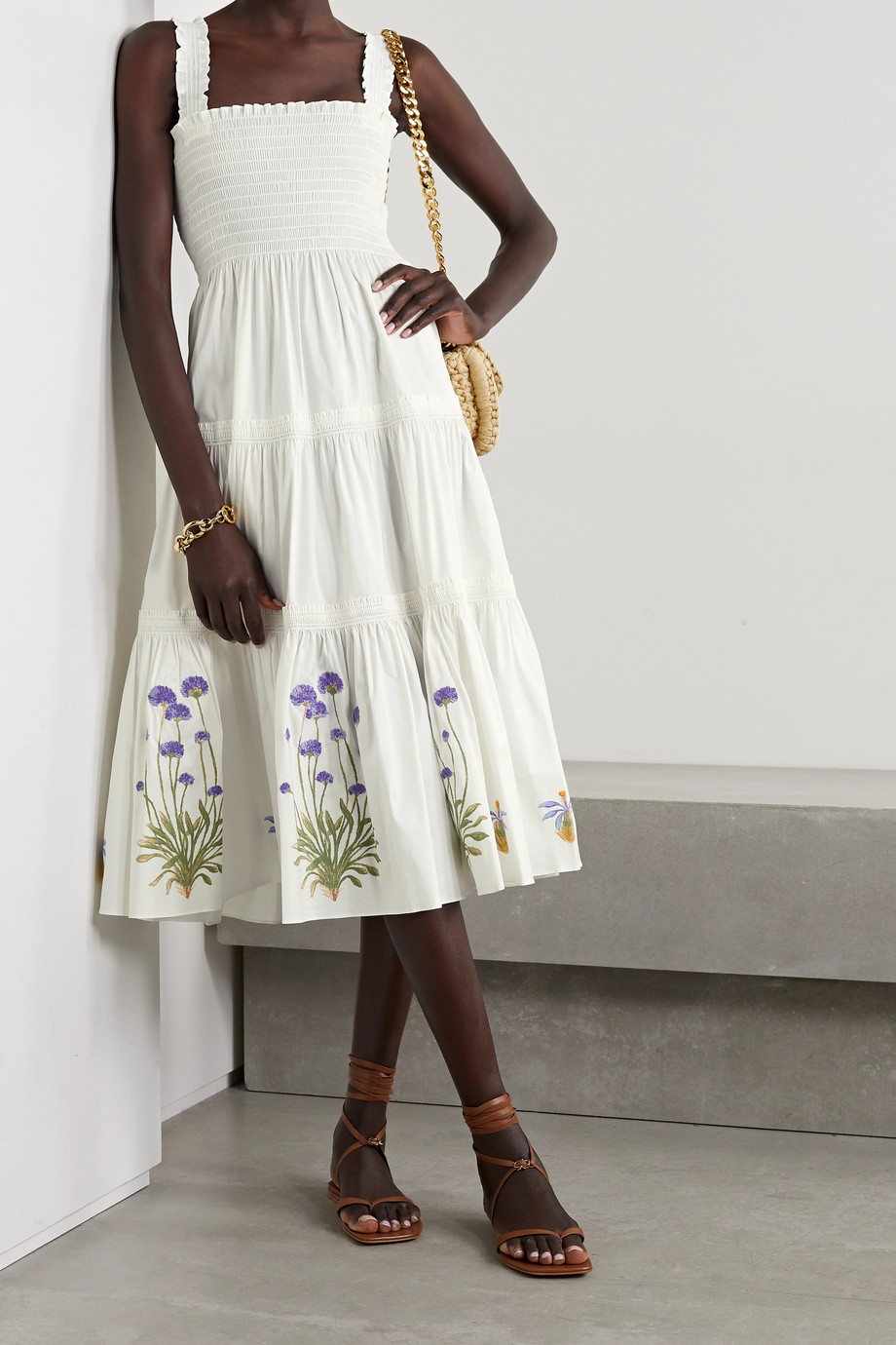 TORY BURCH Shirred embroidered printed cotton-blend poplin midi dress