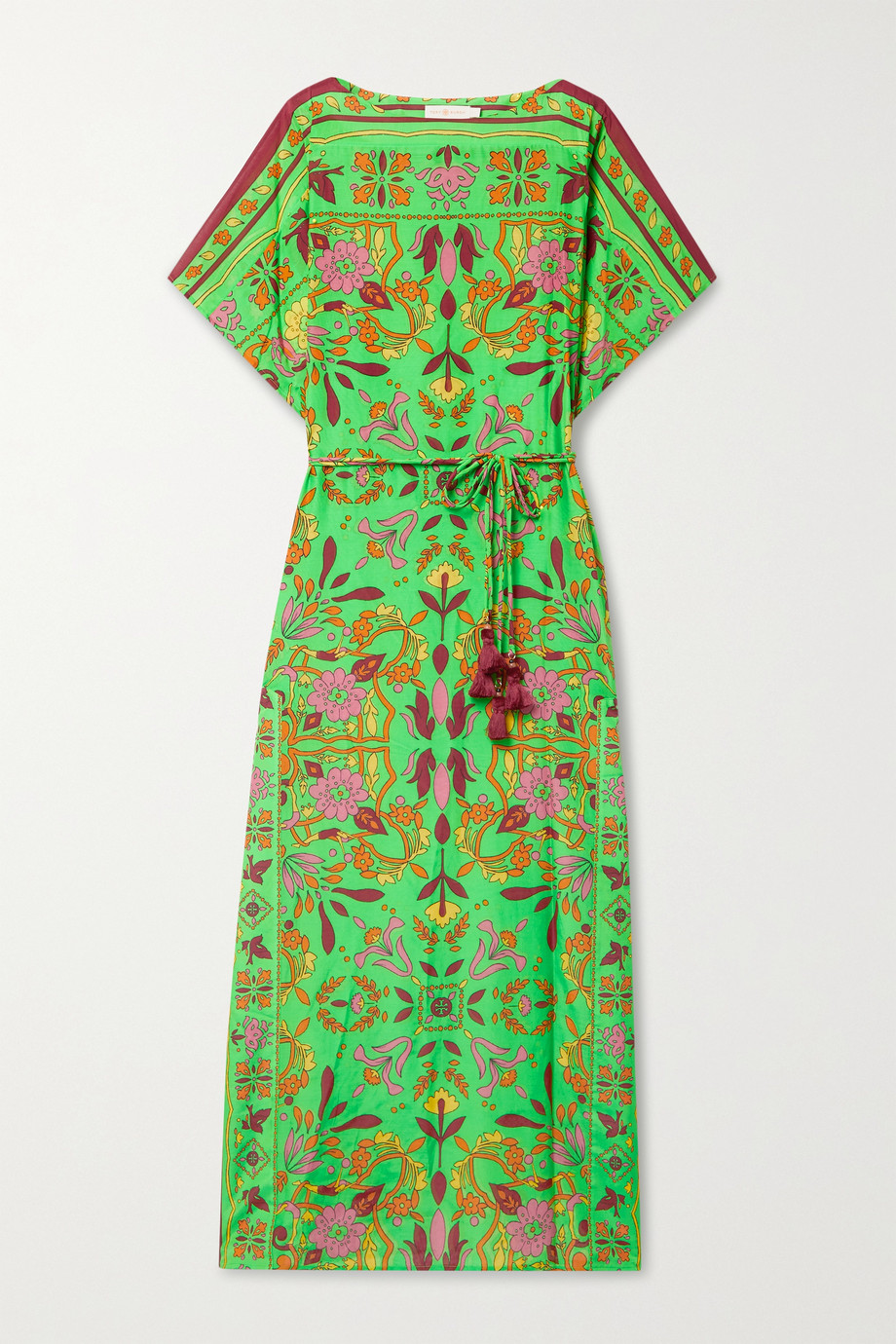 TORY BURCH Belted printed cotton and silk-blend kaftan