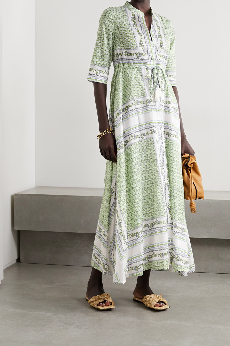 TORY BURCH Printed cotton-voile midi shirt dress