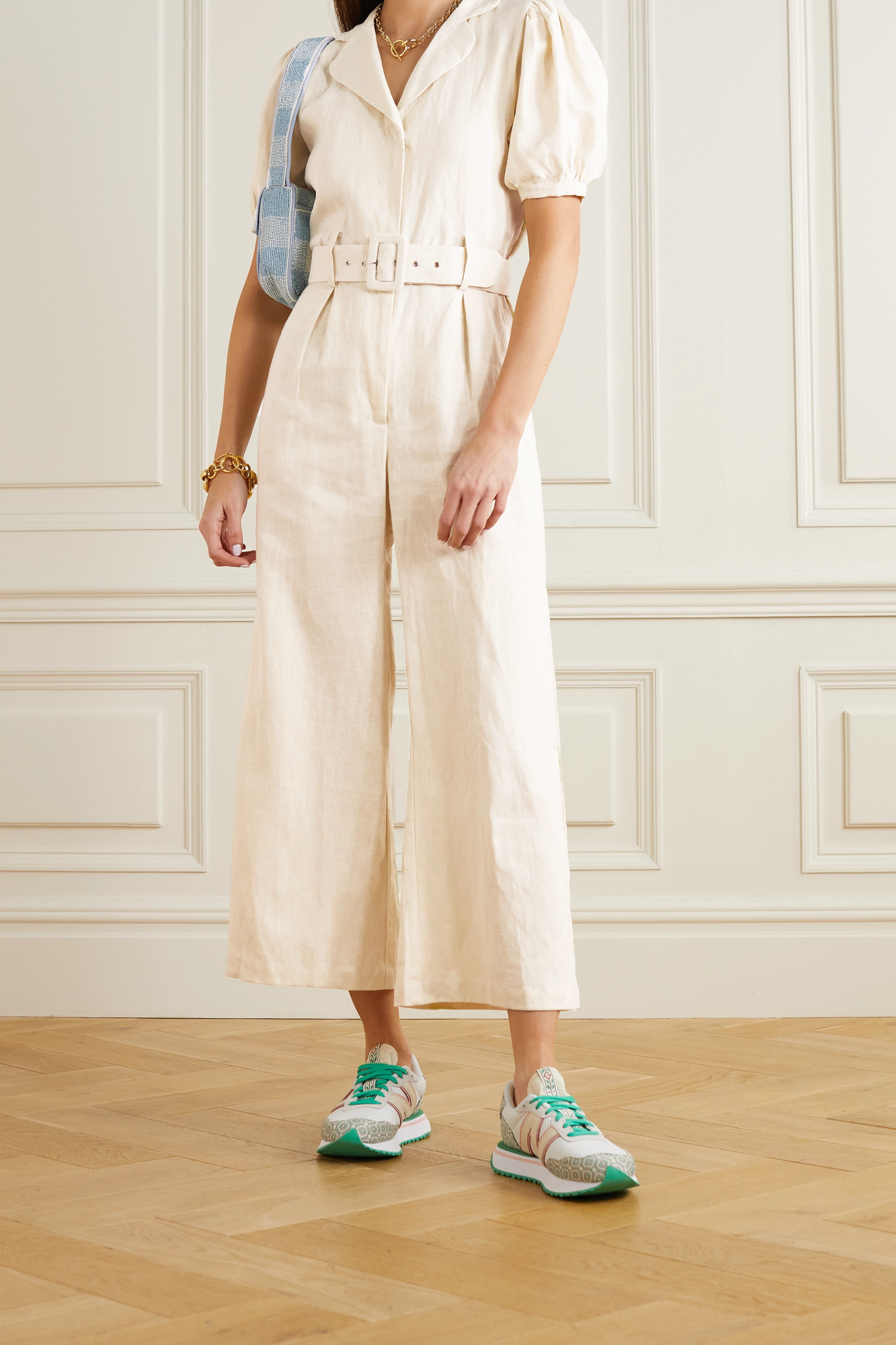 FAITHFULL THE BRAND + NET SUSTAIN Frederikke belted linen jumpsuit
