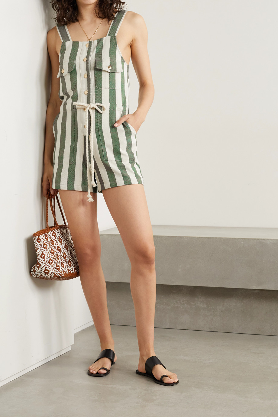 MIGUELINA Franca button-embellished striped cotton-twill playsuit