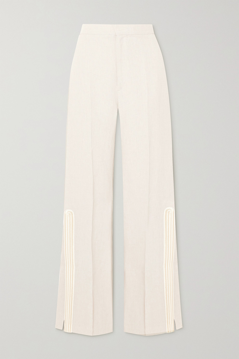 ZEUS + DIONE Petra embroidered satin-trimmed grain de poudre flared pants