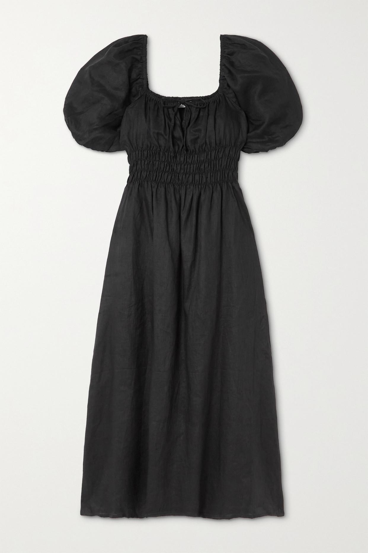FAITHFULL THE BRAND - + Net Sustain Maurelle Tie-detailed Shirred Linen Midi Dress - Black - small