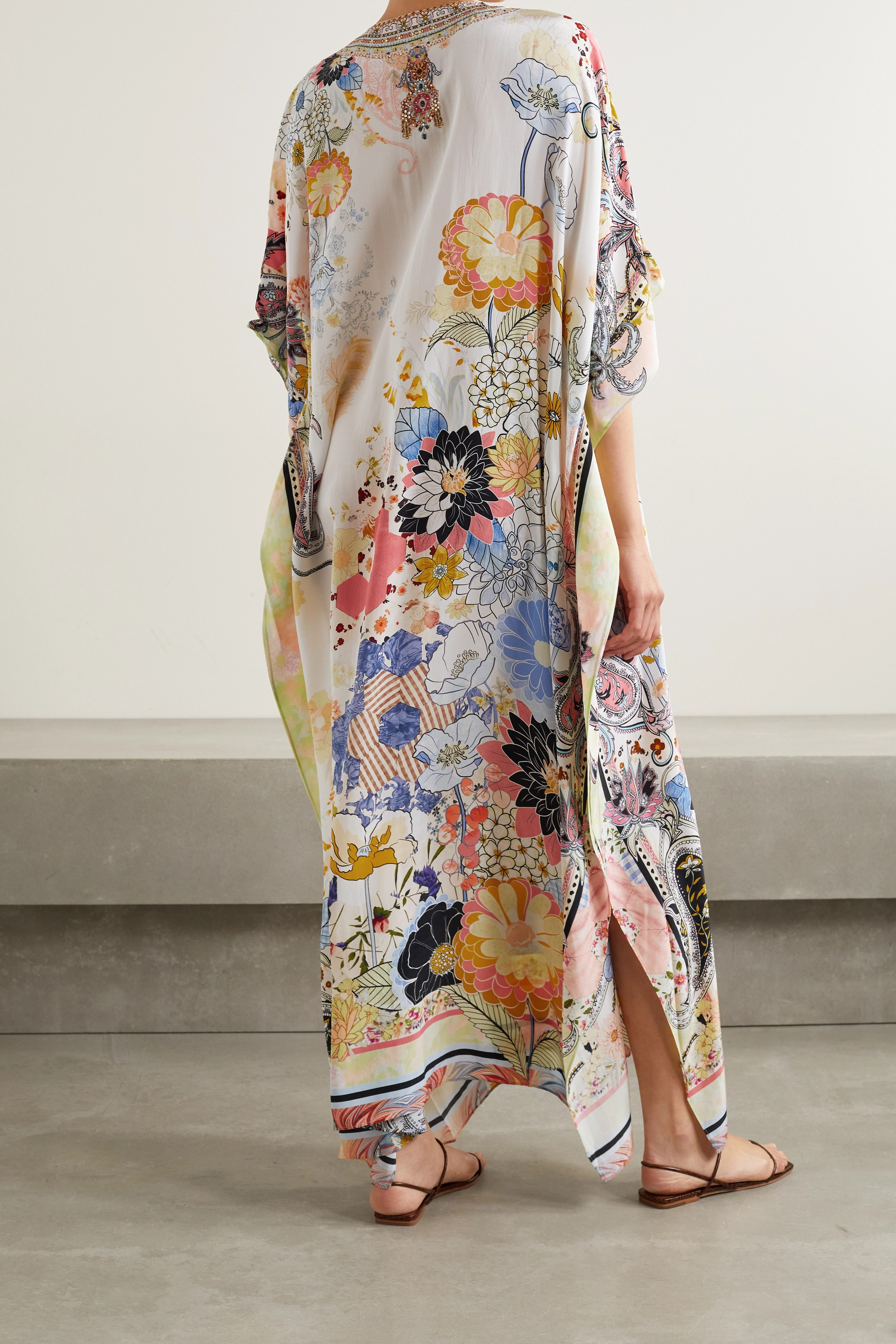 CAMILLA Lace-up crystal-embellished printed silk crepe de chine kaftan