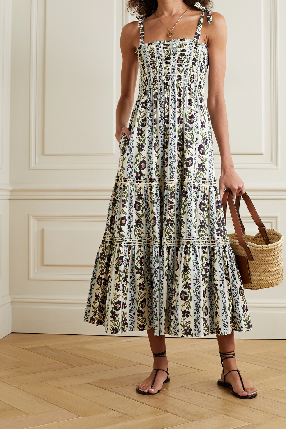 TORY BURCH Shirred tiered floral-print cotton-blend poplin dress