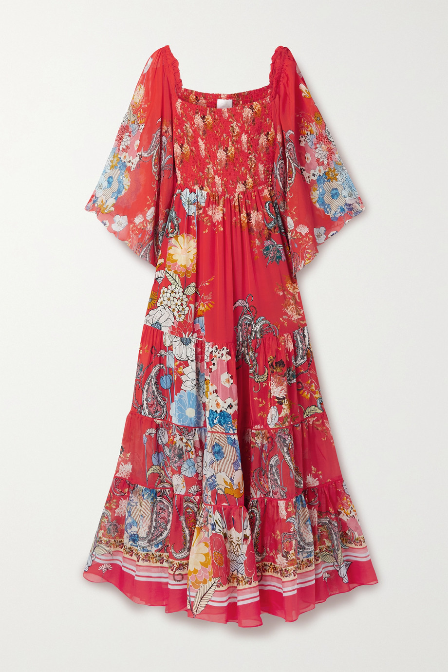 CAMILLA Shirred tiered printed silk-georgette maxi dress