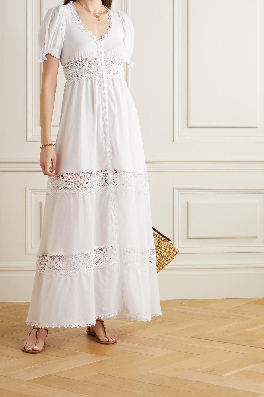 CHARO RUIZ Thelma crocheted lace-trimmed cotton-blend midi dress