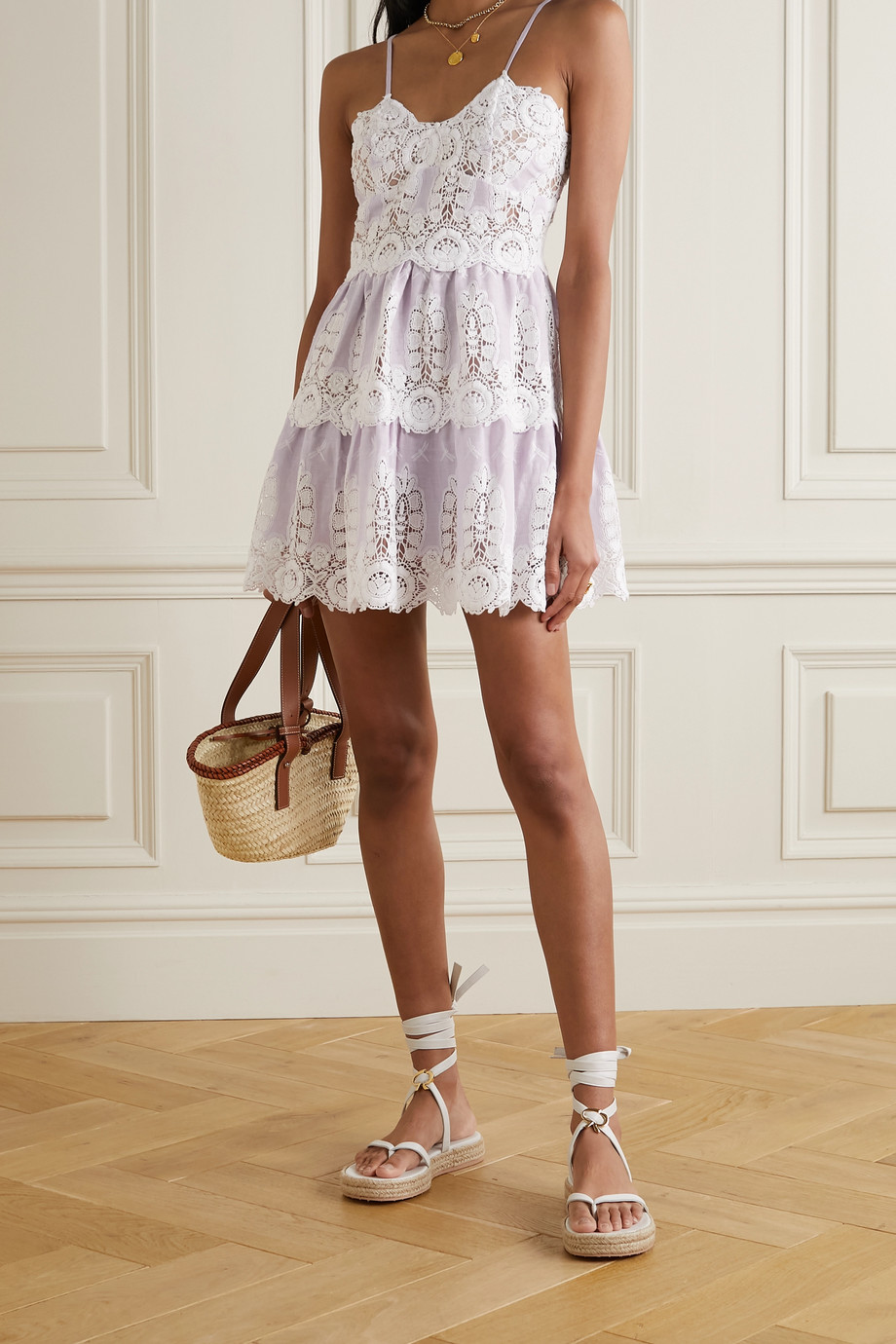 MIGUELINA Sara crocheted cotton and linen mini dress