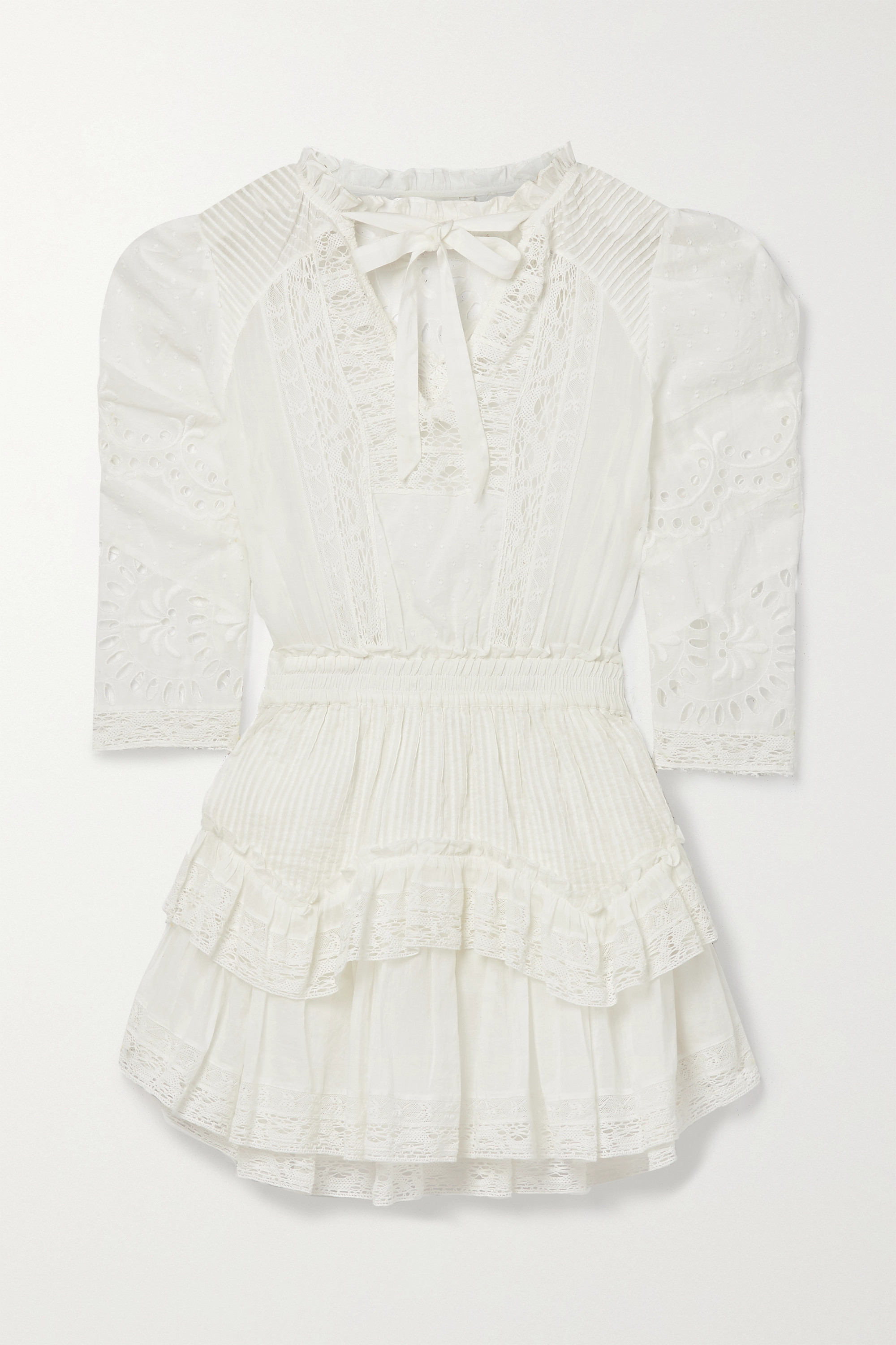 LOVESHACKFANCY Isidore lace-trimmed broderie anglaise and Swiss-dot cotton-voile mini dress