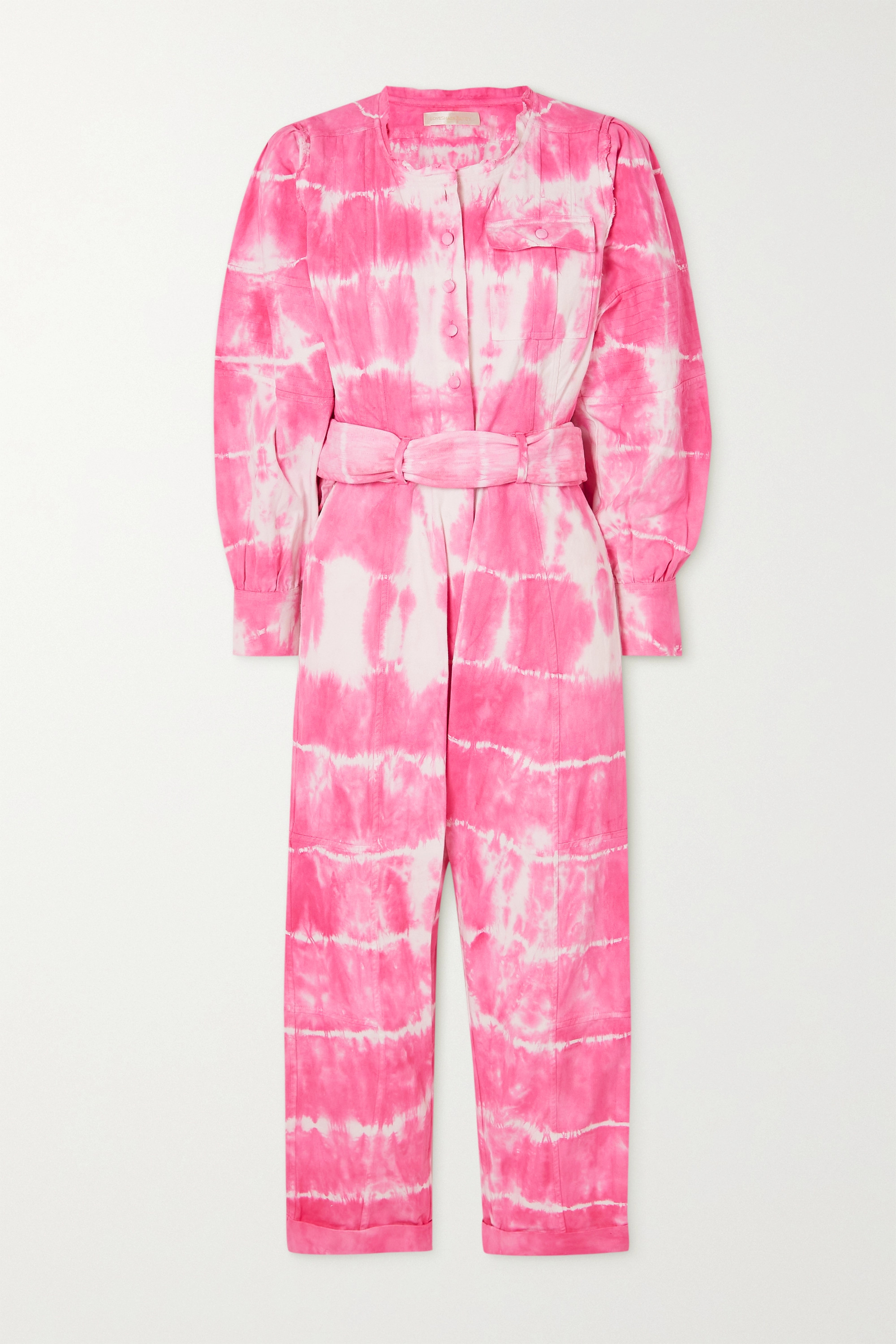 LOVESHACKFANCY Paca cropped tie-dyed cotton-twill jumpsuit