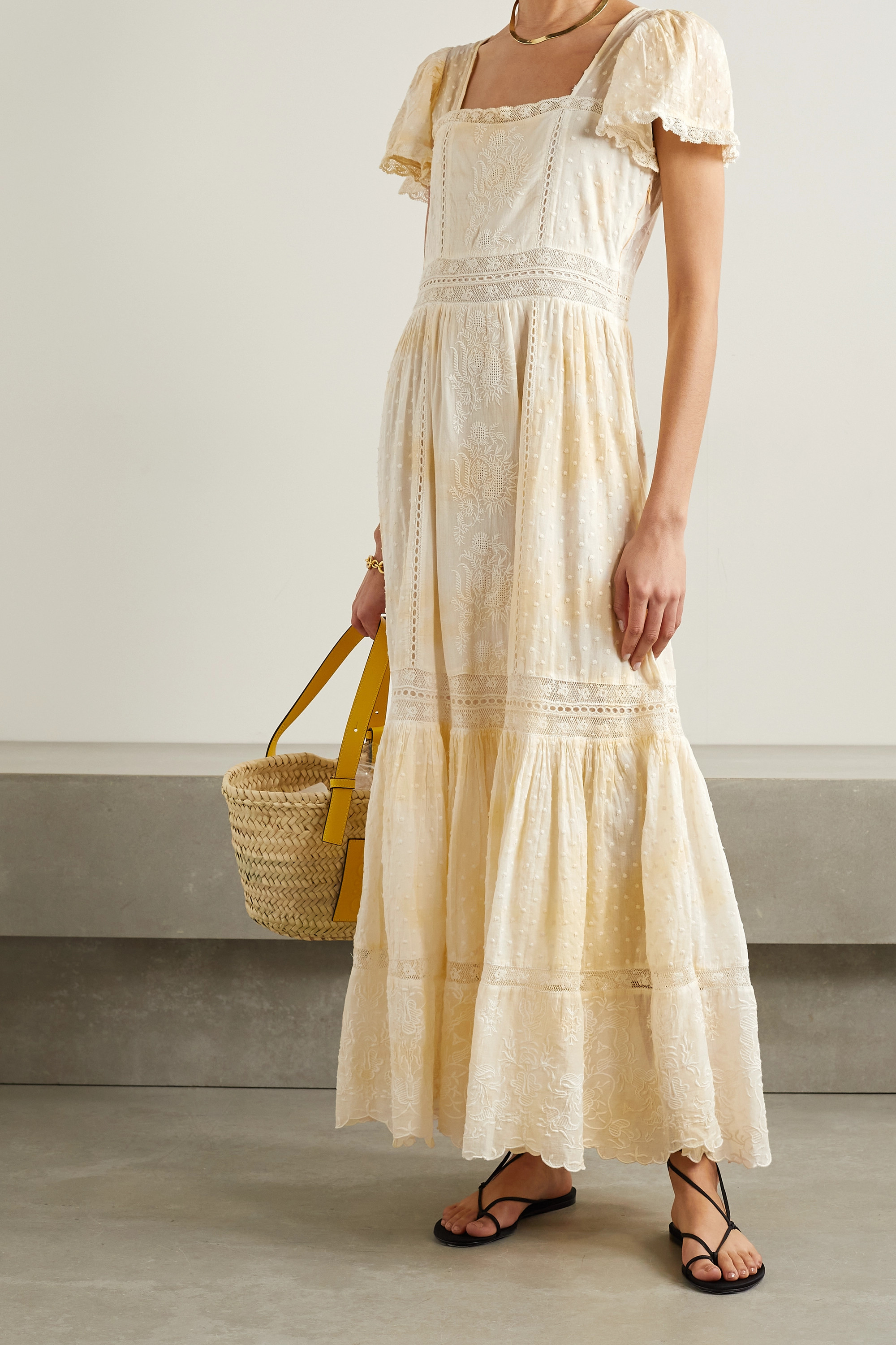 LOVESHACKFANCY Norma crochet-trimmed embroidered cotton-voile maxi dress
