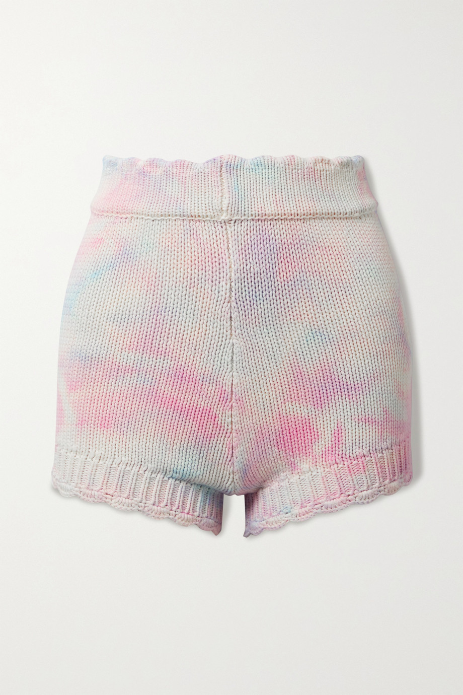 LOVESHACKFANCY Karrisa scalloped tie-dyed cotton-blend shorts