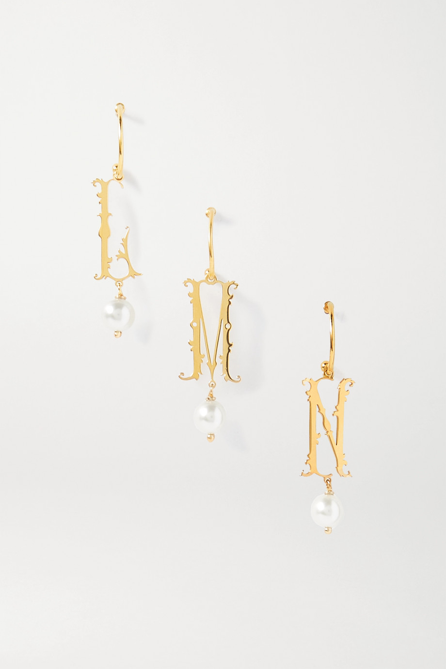 SIMONE ROCHA Initial gold-plated faux pearl hoop earring