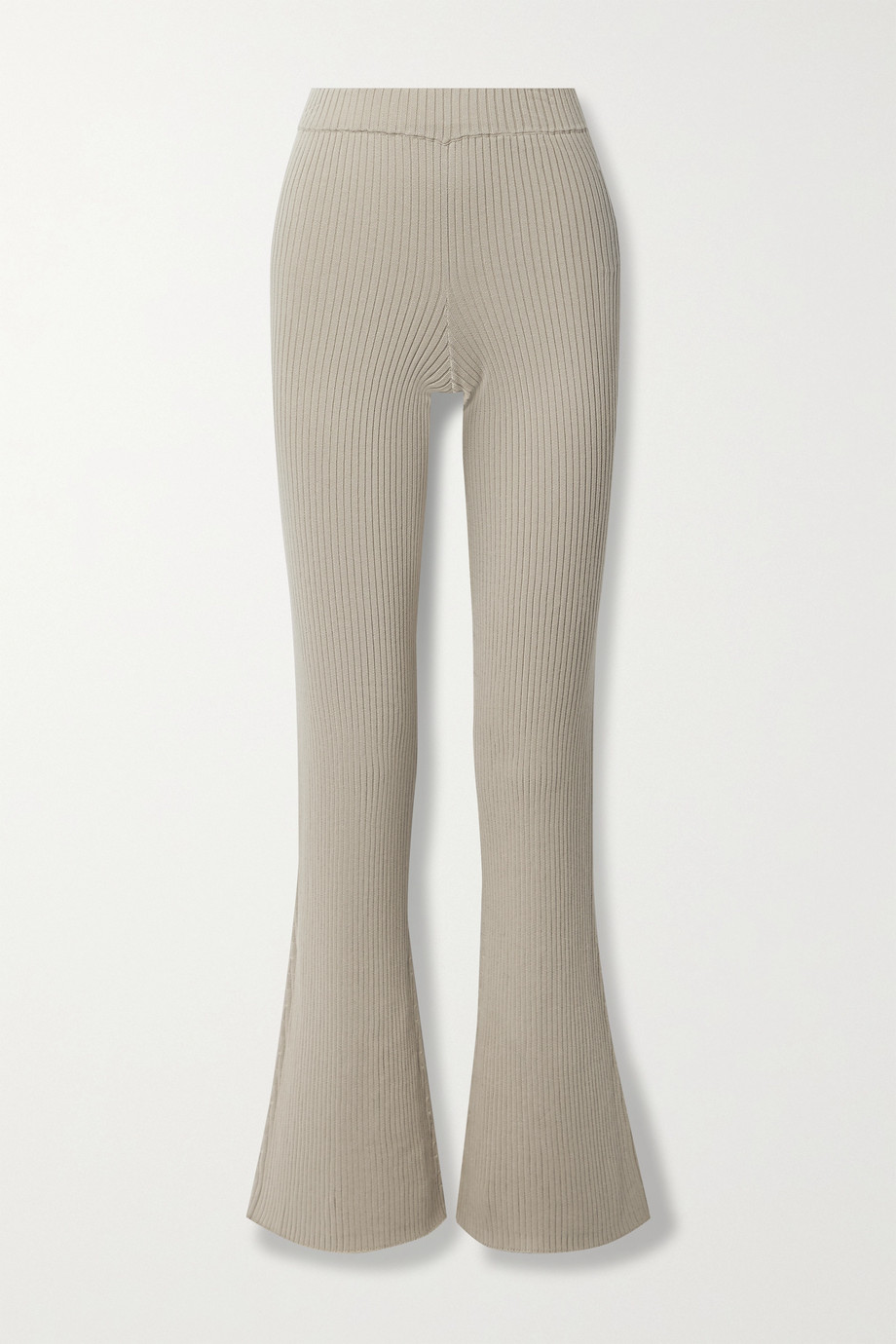 ALLUDE Ribbed cotton and silk-blend flared pants