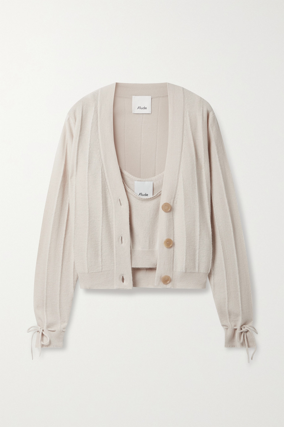 ALLUDE Cropped cashmere cardigan and tank set