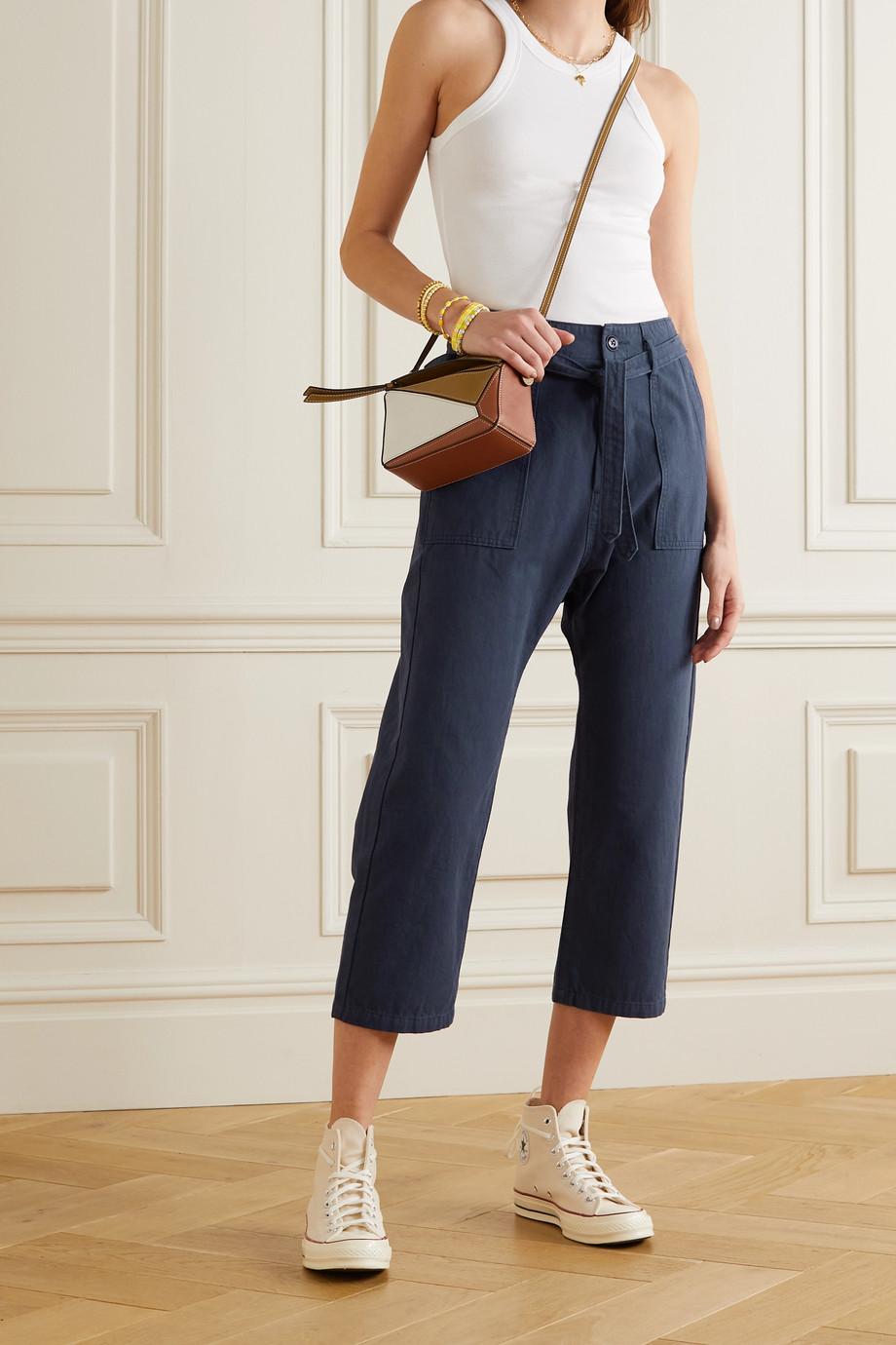 THE GREAT. The Convertible belted cotton straight-leg pants