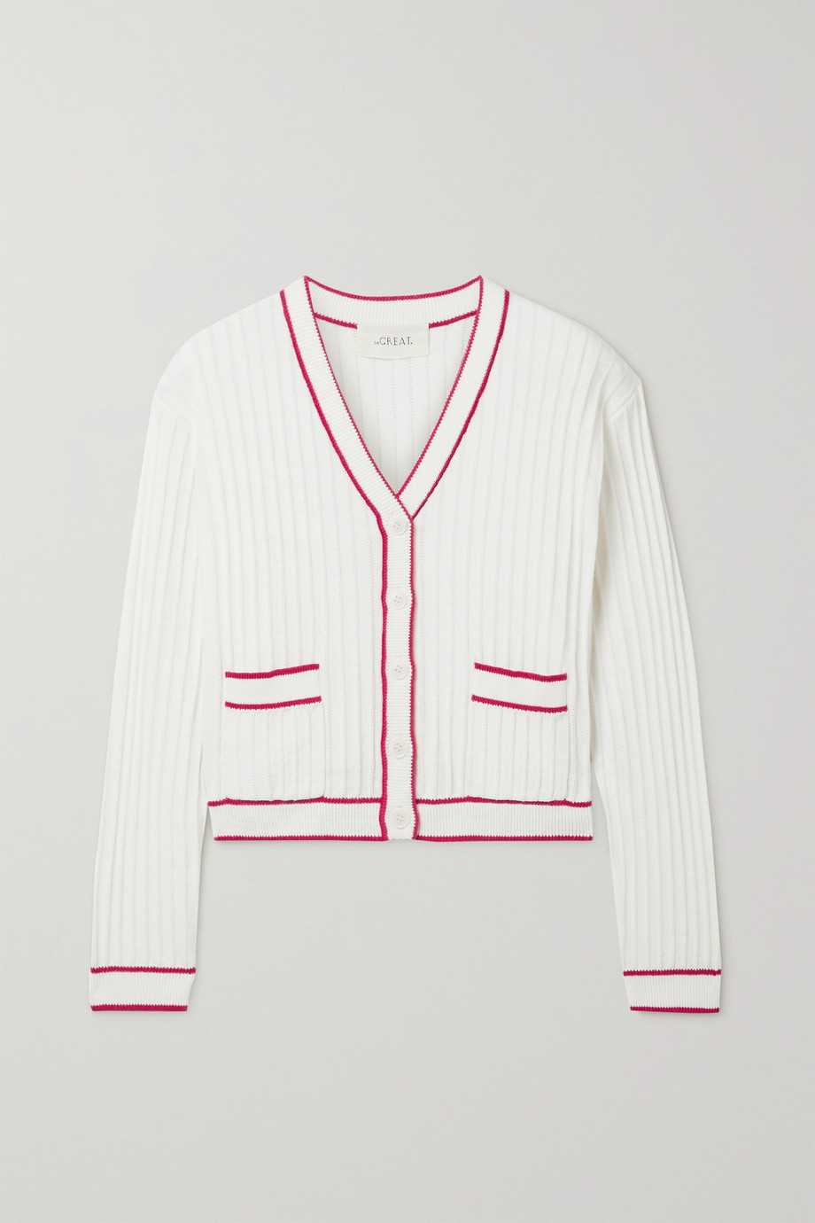 THE GREAT. The Athletic ribbed cotton-blend cardigan