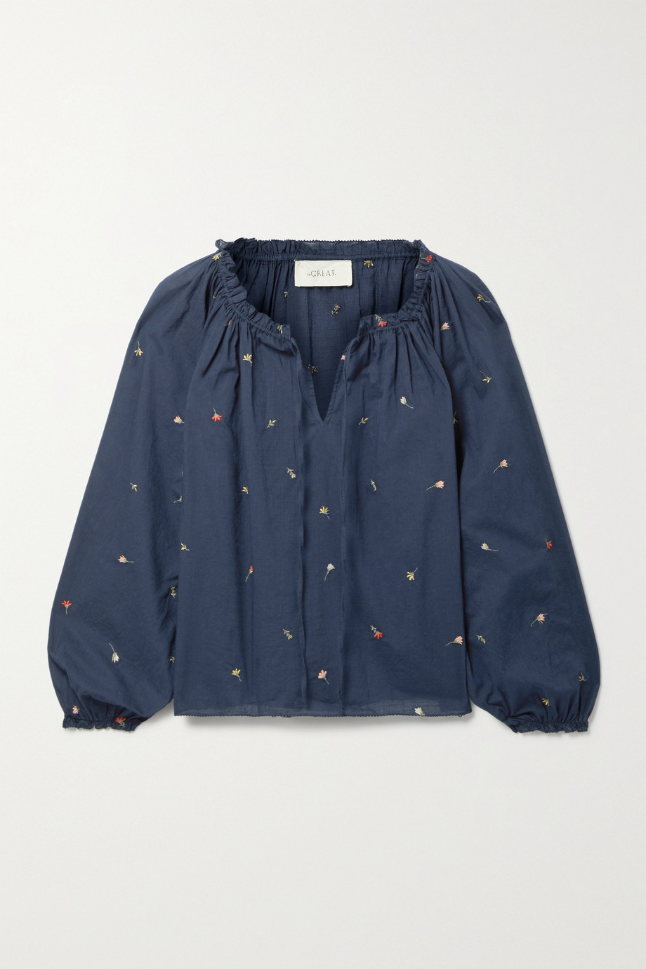 THE GREAT. The Posey gathered embroidered cotton-voile blouse