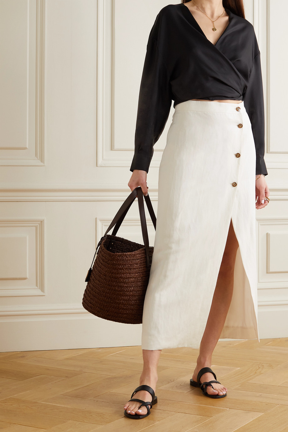 GIULIVA HERITAGE The Sadie linen and silk-blend twill midi skirt