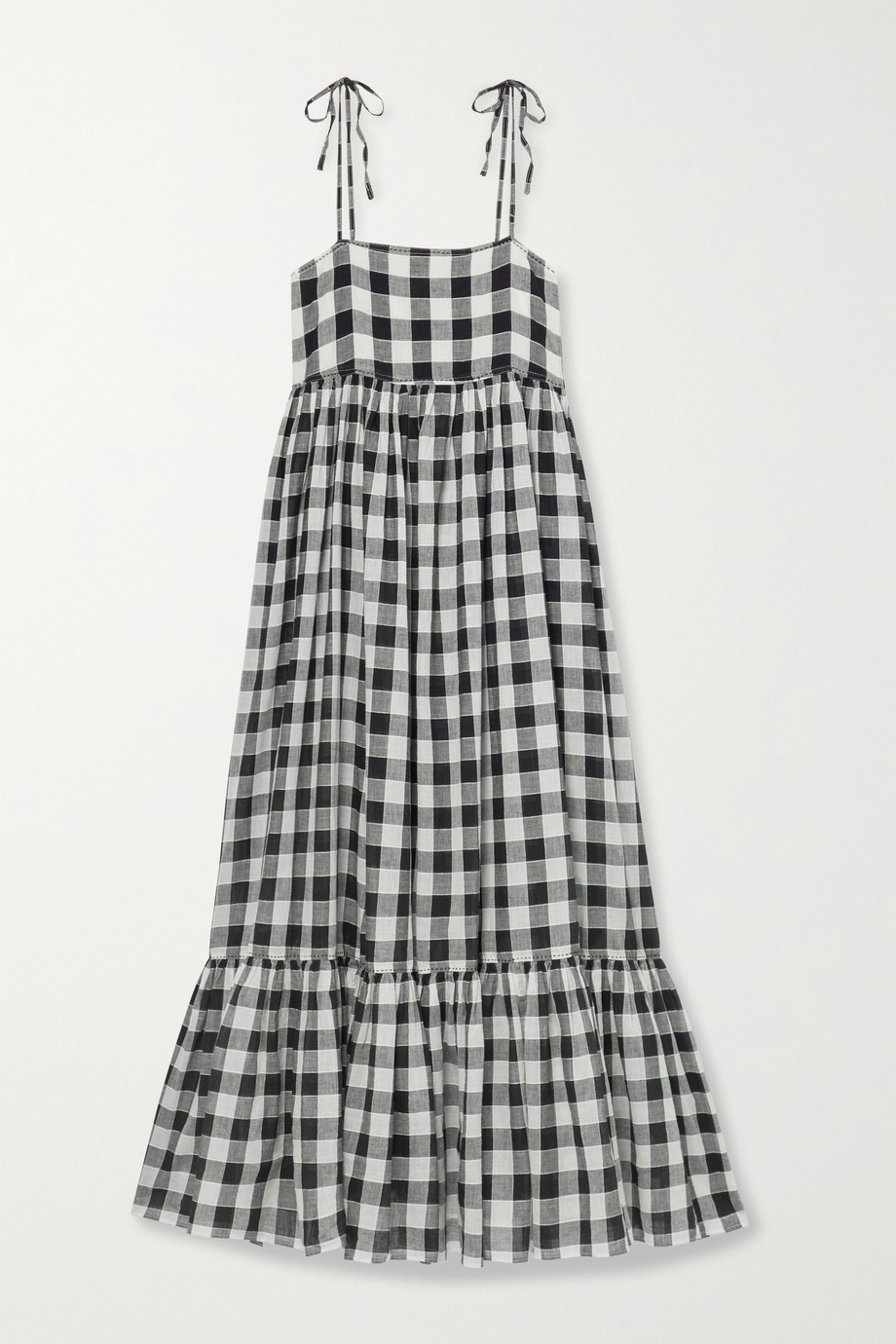 THE GREAT. The Dainty gingham linen and cotton-blend midi dress