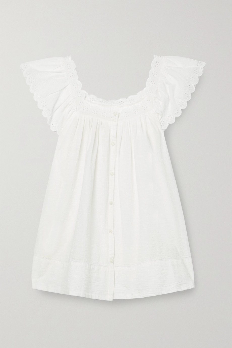 THE GREAT. The Eyelet Keepsake scalloped broderie anglaise cotton-voile blouse