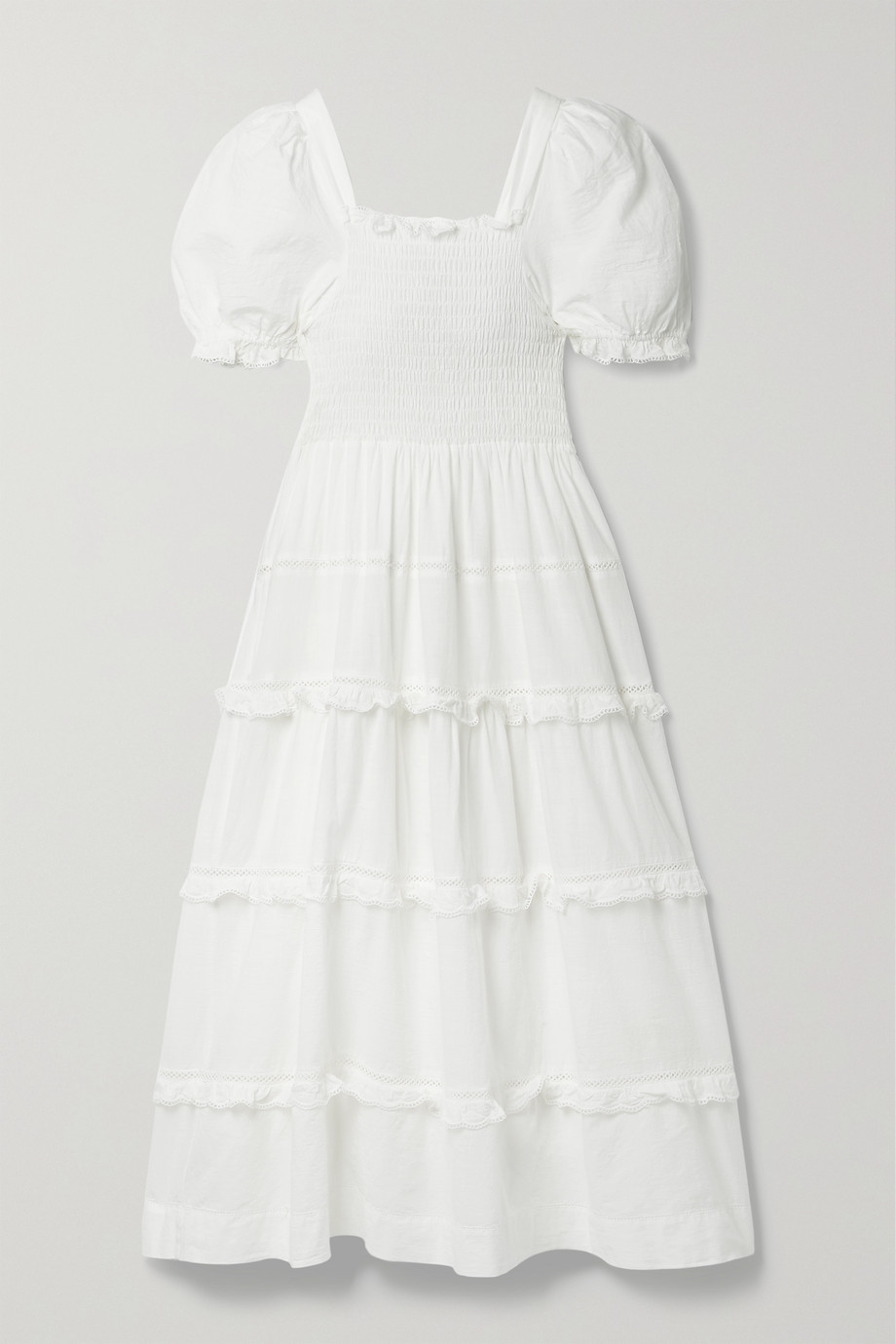THE GREAT. The Savanna shirred tiered cotton-voile midi dress
