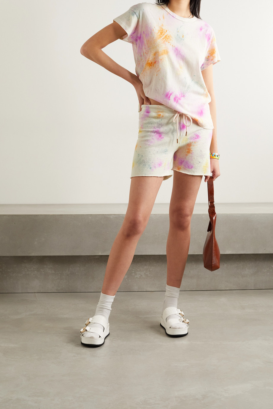 THE GREAT. The Sweatshort tie-dyed loopback cotton-jersey shorts