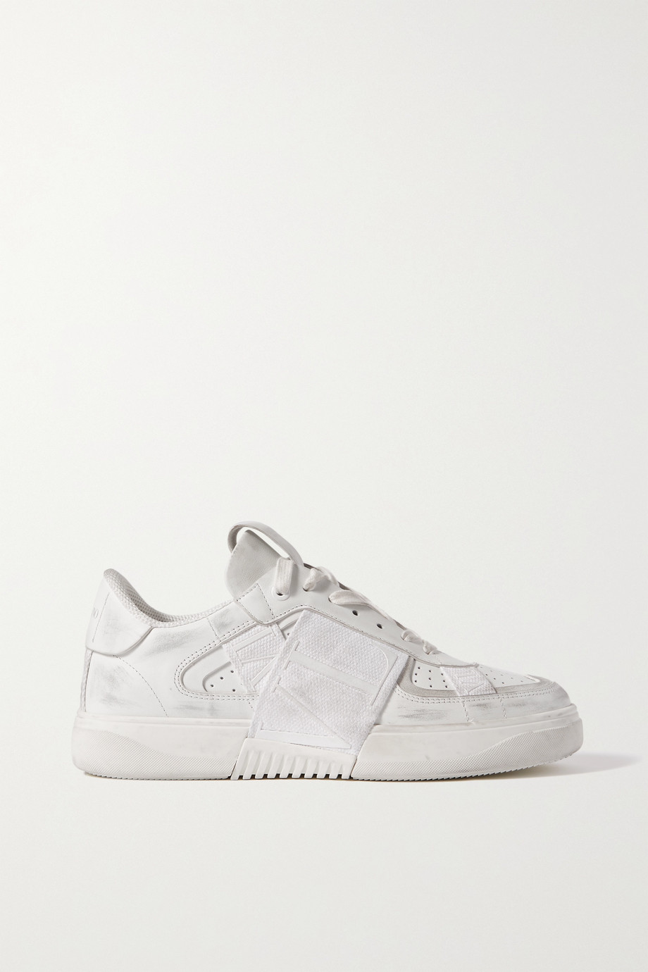 VALENTINO Valentino Garavani VLTN distressed leather, suede and canvas sneakers