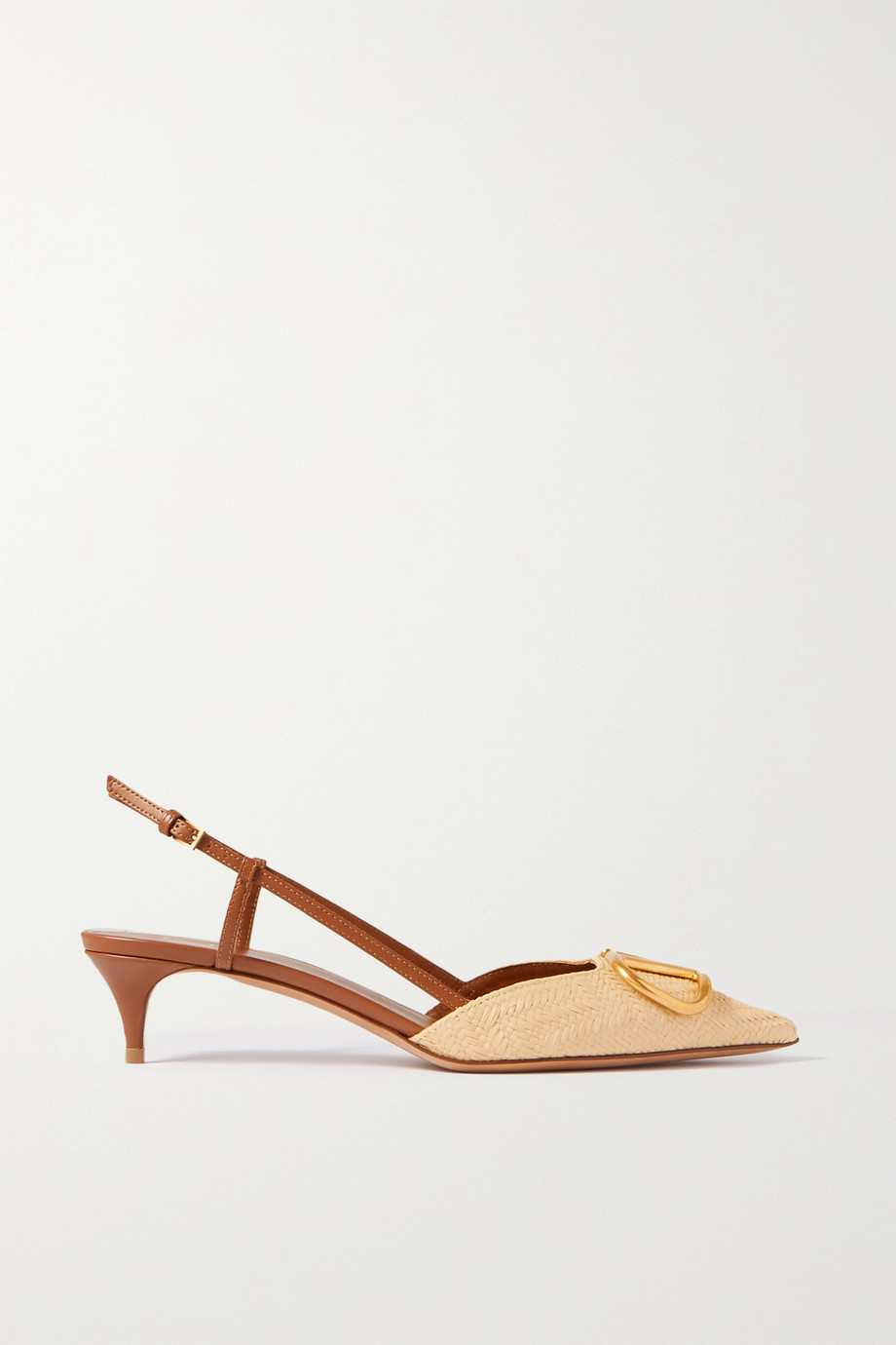 VALENTINO Valentino Garavani Go Logo 40 raffia and leather slingback pumps