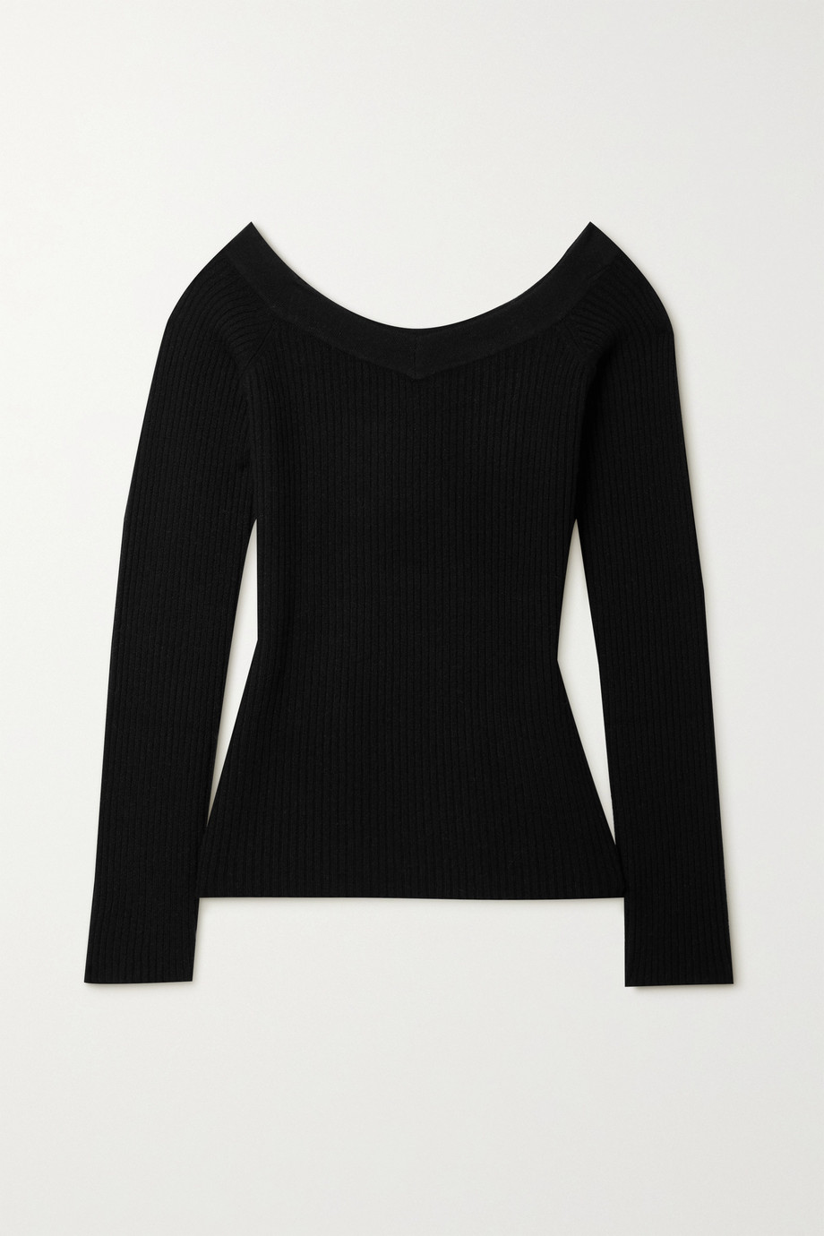 LAPOINTE + NET SUSTAIN off-the-shoulder ribbed organic cashmere sweater