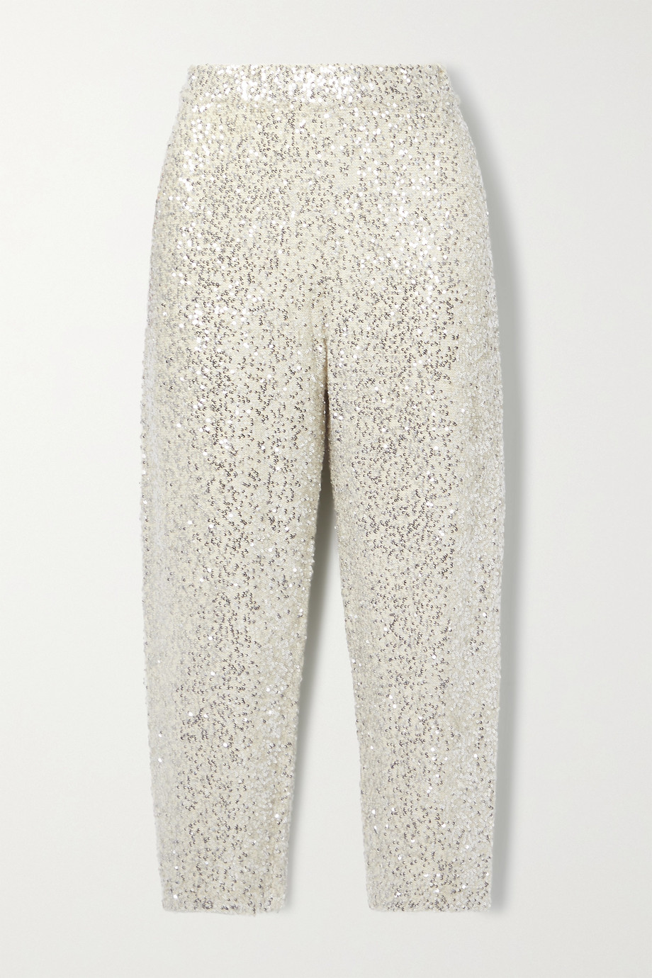 LAPOINTE Cropped sequined cashmere and silk-blend track pants