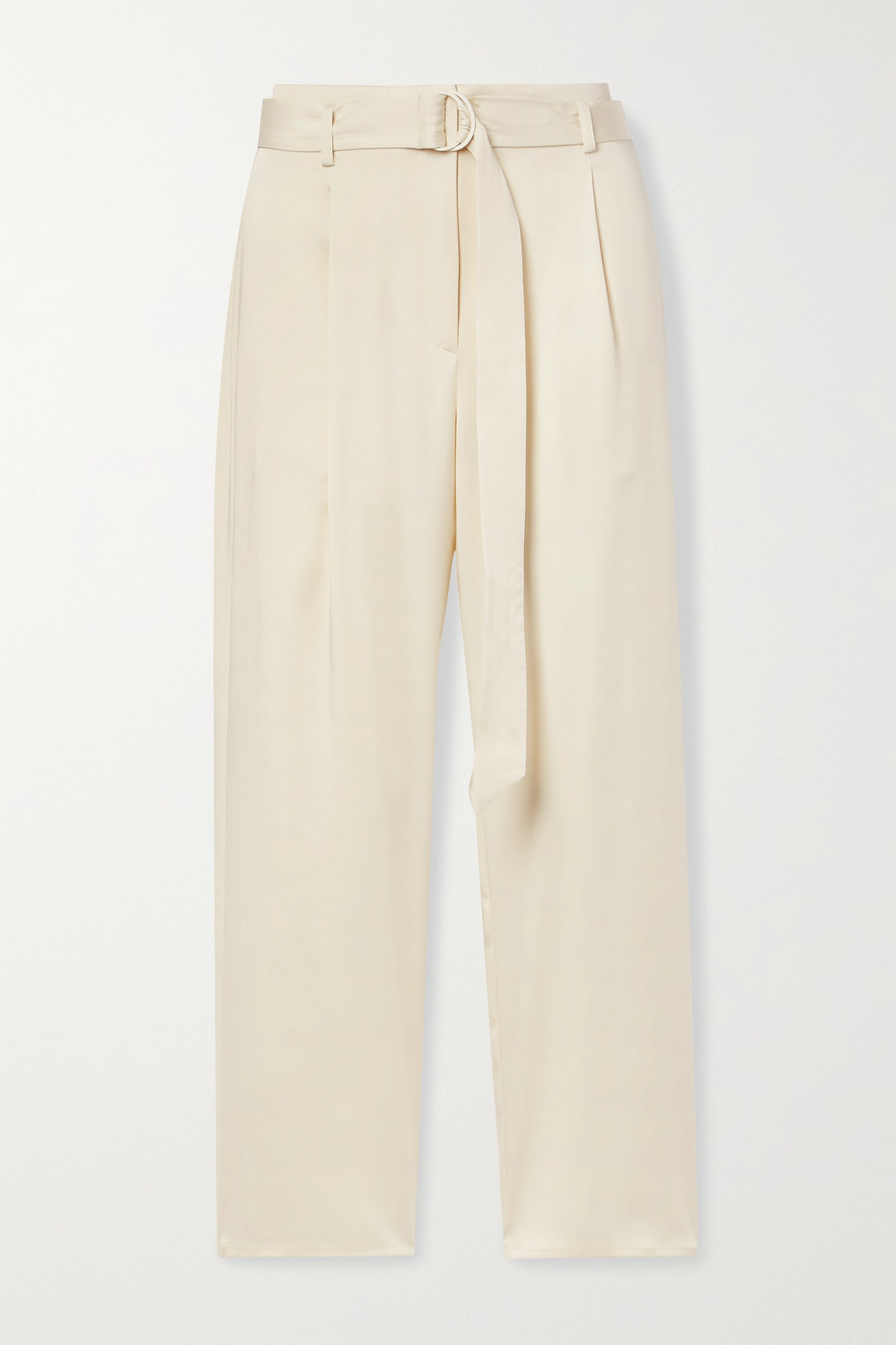 LAPOINTE Belted washed-satin straight-leg pants
