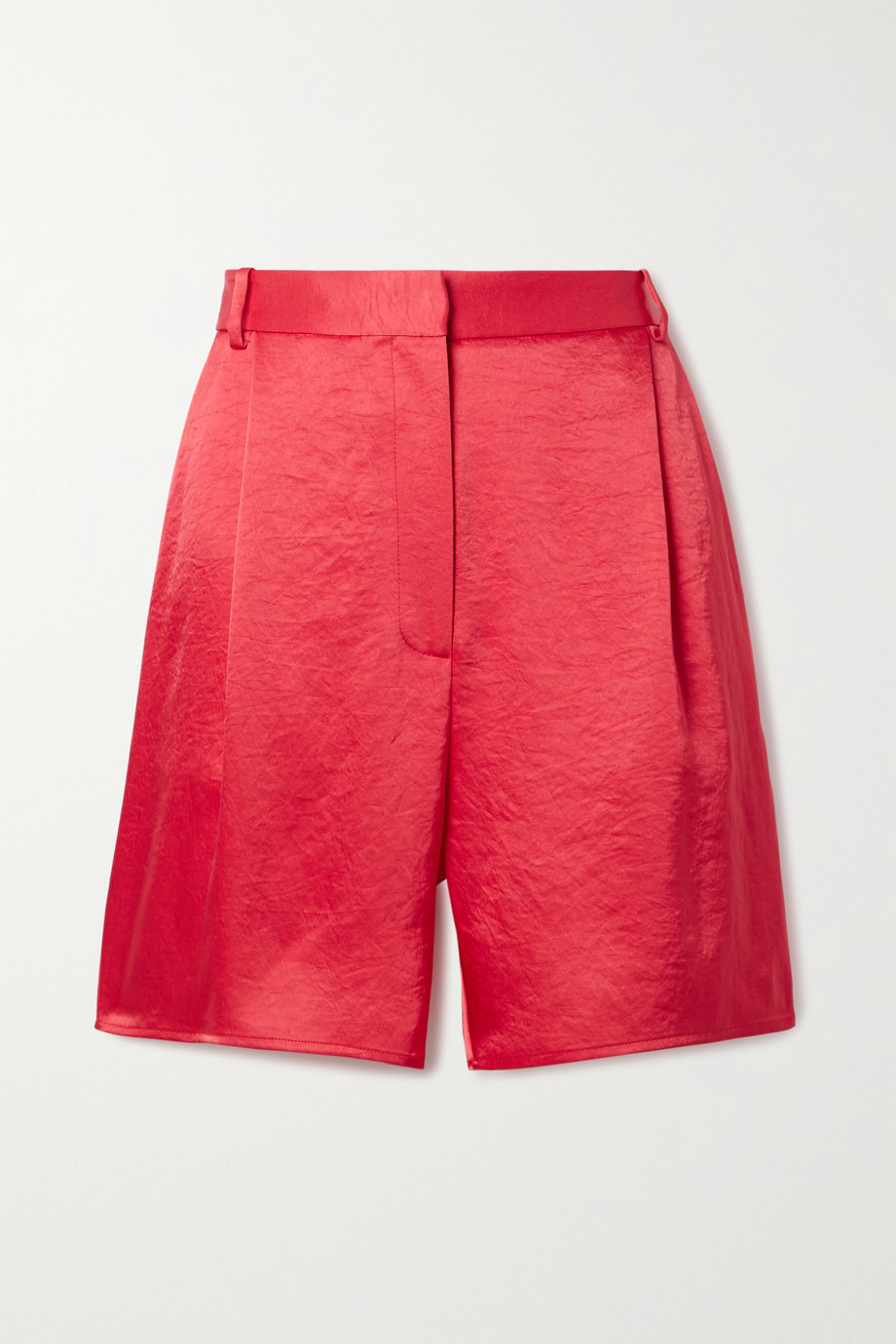 LAPOINTE Pleated crinkled-satin shorts