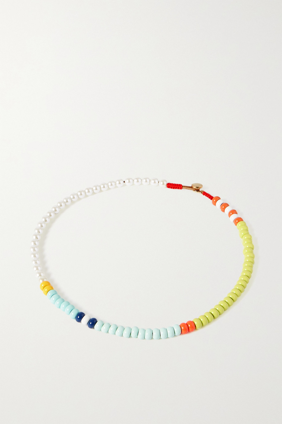 ROXANNE ASSOULIN Loopy enamel and faux pearl necklace