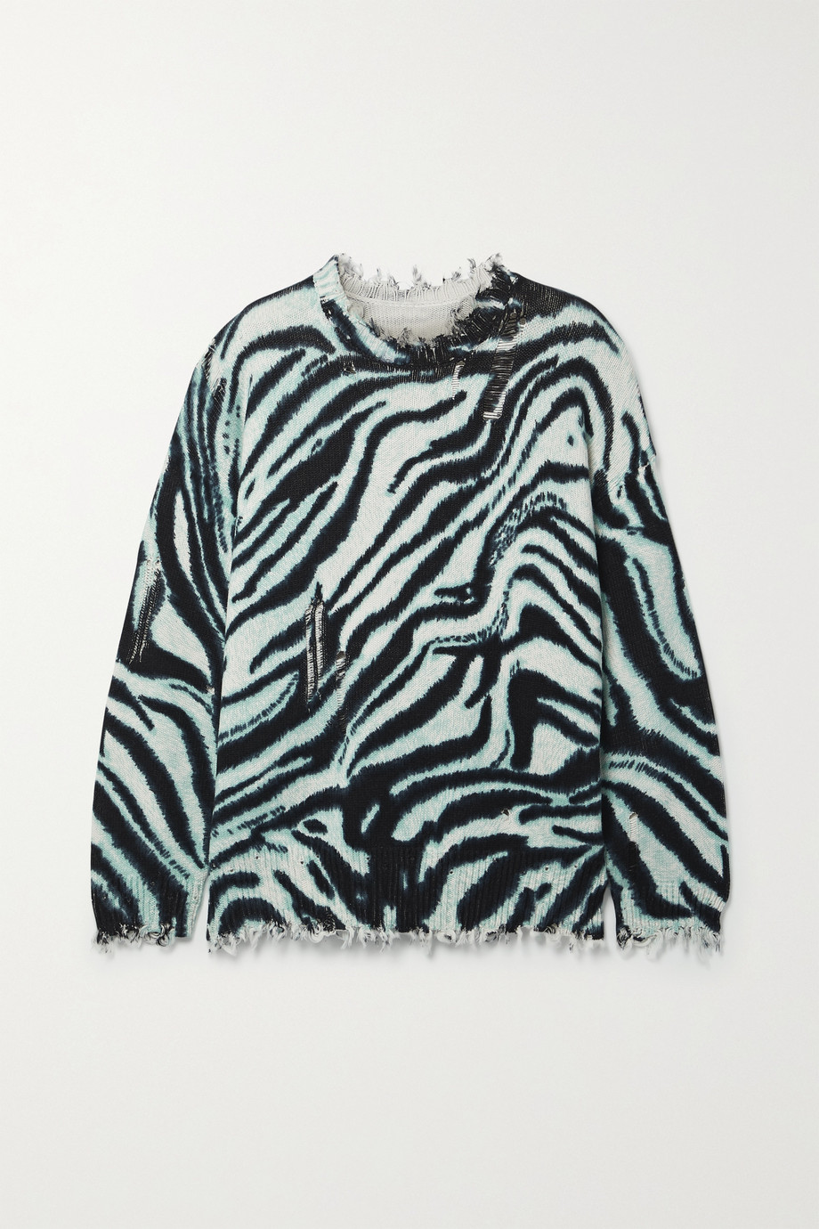 R13 Oversized distressed zebra-print cotton sweater