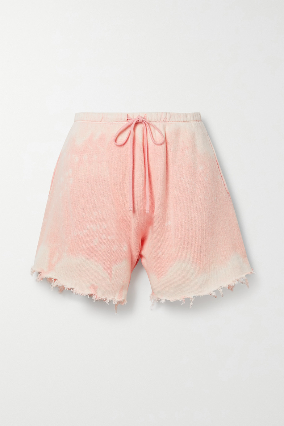R13 Distressed tie-dyed cotton-terry shorts