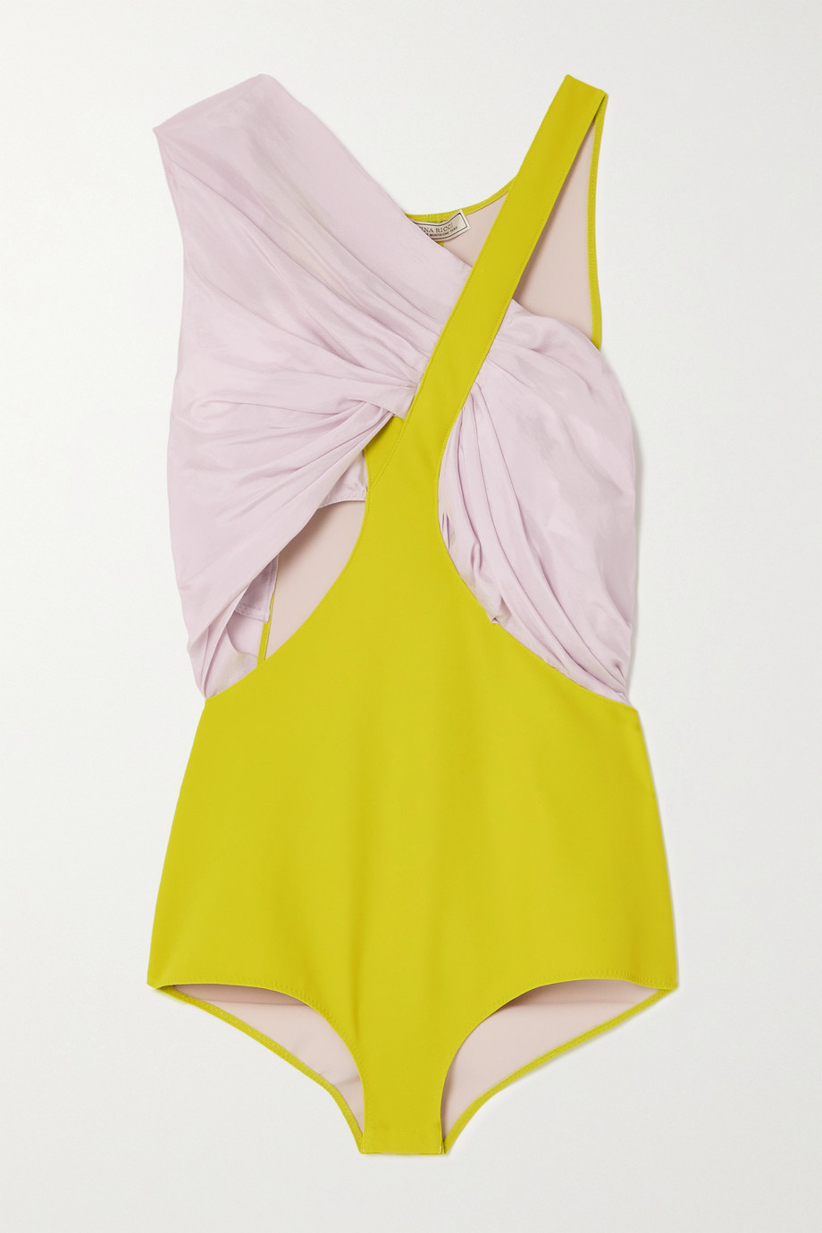 NINA RICCI Gathered silk-satin and scuba bodysuit