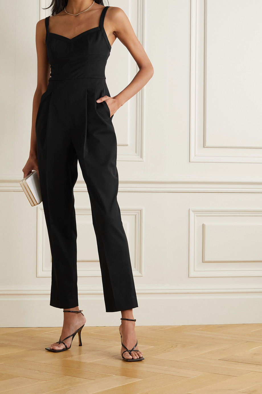 EMILIA WICKSTEAD Pleated stretch-cady jumpsuit