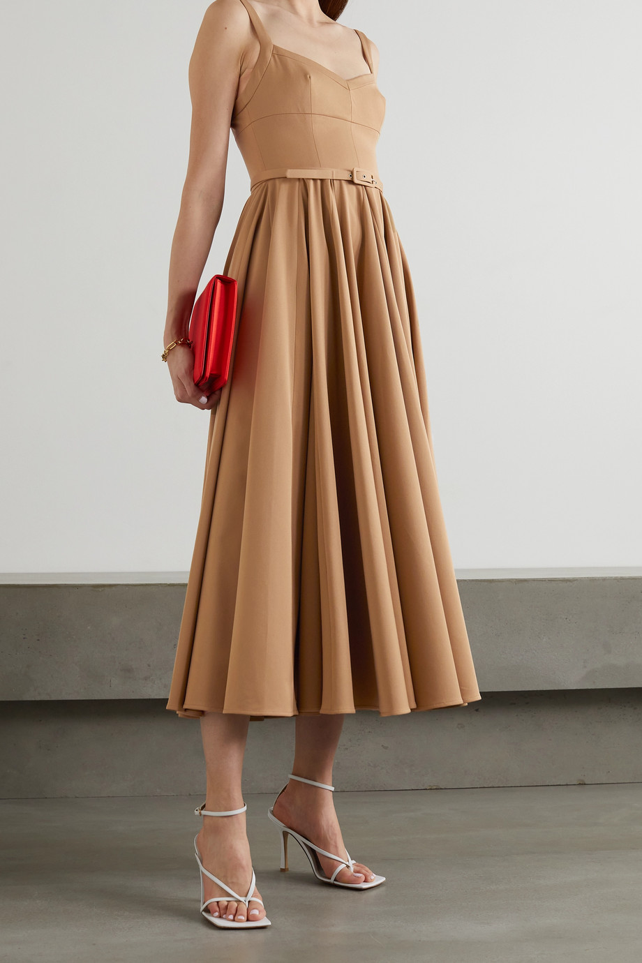 EMILIA WICKSTEAD Elita belted pleated stretch-cady midi dress