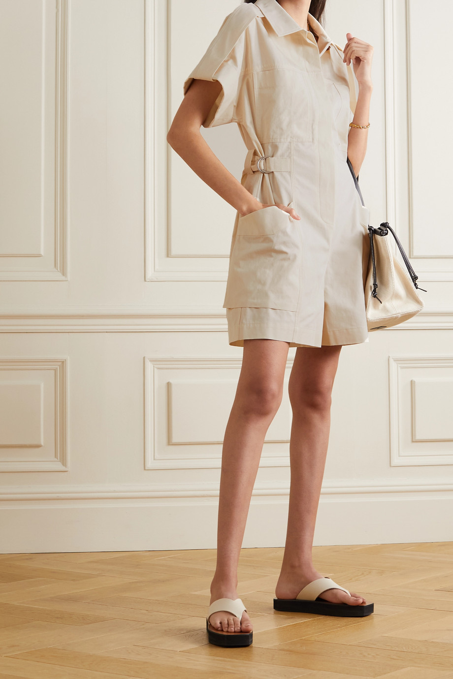 LVIR Cotton and linen-blend twill playsuit