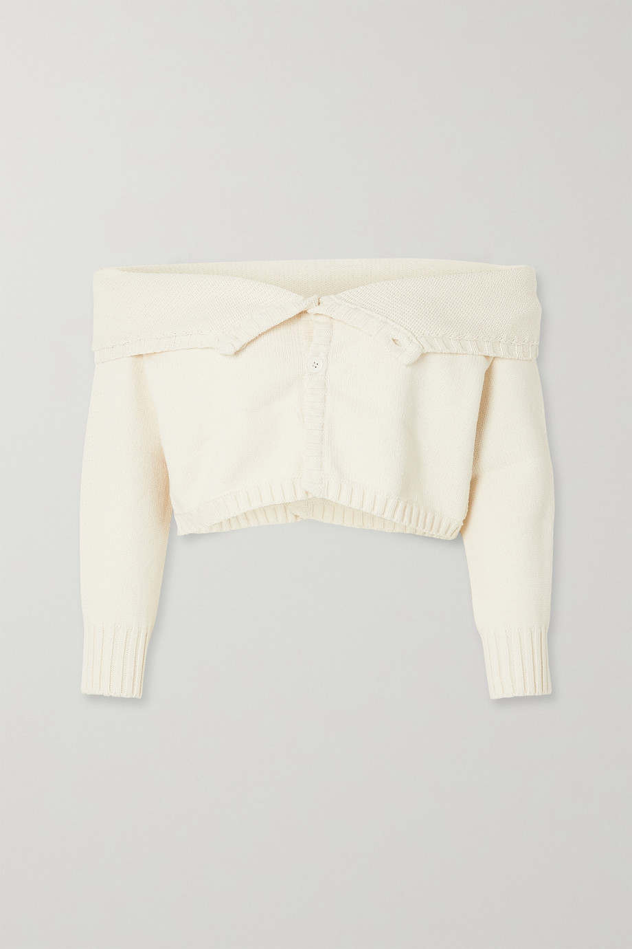 PHILOSOPHY DI LORENZO SERAFINI Cropped off-the-shoulder cotton-blend cardigan